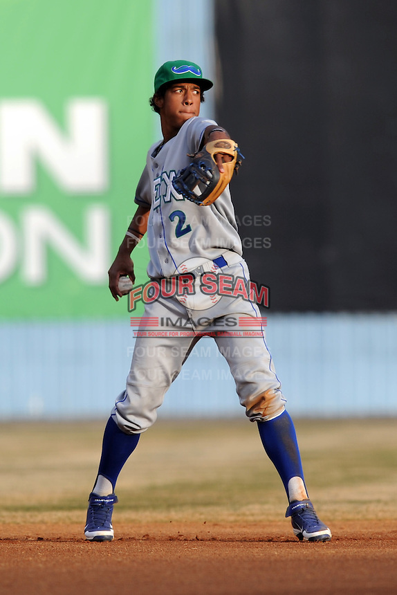 Lexington Legends shortstop Raul Mondesi #2 warms up between innings during a game against the  Asheville Tourists at McCormick Field on April 23, 2013 in Asheville, North Carolina. The Tourists won the game 4-3. (Tony Farlow/Four Seam Images).