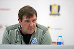 FK Trakai v St Johnstone…05.07.17… Europa League 1st Qualifying Round 2nd Leg<br />St Johnstone Manager Tommy Wright pictured during a press conference this evening in Vilnius<br />Picture by Graeme Hart.<br />Copyright Perthshire Picture Agency<br />Tel: 01738 623350  Mobile: 07990 594431