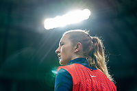 SOLNA, SWEDEN - APRIL 10: Samantha Mewis #3 of the USWNT warms up during a game between Sweden and USWNT at Friends Arena on April 10, 2021 in Solna, Sweden.