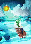 Businessman steering boat in the sea with rupee symbol sail