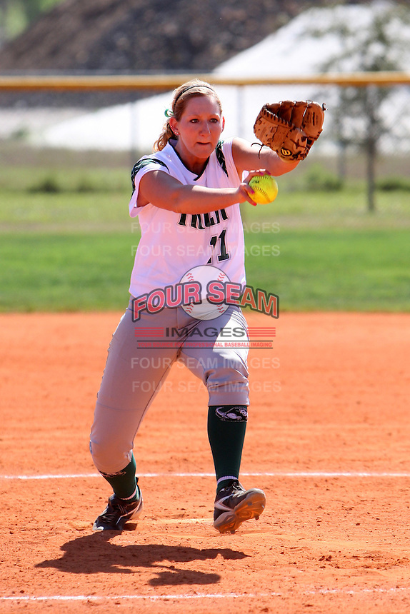 Slippery Rock pitcher Amy Erickson #11 during a game against Lees-McRae College at Oren Brown Field on March 7, 2011 in Kissimmee, Florida.  Slippery Rock defeated Lees-McRae 9-6.  (Mike Janes/Four Seam Images)