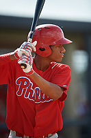 Philadelphia Phillies Guarner Dipre (28) at bat during a Florida Instructional League game against the New York Yankees on October 11, 2018 at Yankee Complex in Tampa, Florida.  (Mike Janes/Four Seam Images)