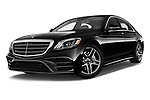Stock pictures of low aggressive front three quarter view of 2018 Mercedes Benz S-Class 450 4 Door Sedan Low Aggressive