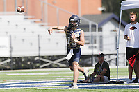 Heritage Hall quarterback Liam Burton passes, Thursday, July 15, 2021 during the Southwest Elite 7on7 tournament at Shiloh Christian in Springdale. Check out nwaonline.com/210716Daily/ for today's photo gallery. <br /> (NWA Democrat-Gazette/Charlie Kaijo)