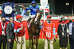 March 27, 2021: MYSTIC GUIDE #10 ridden by Luis Saez wins The Group 1 Dubai World Cup for Michael Stidham  on Dubai World Cup Day, Meydan Racecourse, Dubai, UAE. Shamela Hanley/Eclipse Sportswire/CSM