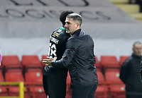 Tyrese Fornah of Plymouth Argyle and Ryan Lowe manager of Plymouth Argyle celebrates the full time result during Charlton Athletic vs Plymouth Argyle, Emirates FA Cup Football at The Valley on 7th November 2020