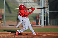 AZL Angels Trent Deveaux (17) at bat during an Arizona League game against the AZL Giants Black at the Giants Baseball Complex on June 21, 2019 in Scottsdale, Arizona. AZL Angels defeated AZL Giants Black 6-3. (Zachary Lucy/Four Seam Images)
