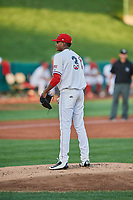 Orem Owlz starting pitcher Jose Soriano (31) looks for the sign against the Ogden Raptors at Home of the Owlz on September 11, 2017 in Orem, Utah. Ogden defeated Orem 7-3 to win the South Division Championship. (Stephen Smith/Four Seam Images)