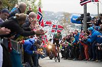 Stefan Küng (SUI/BMC) up Mount Fløyen<br /> <br /> Men Elite Individual Time Trial<br /> <br /> UCI 2017 Road World Championships - Bergen/Norway