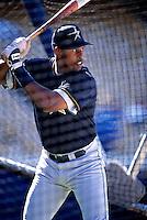 Richard Hidalgo of the Houston Astros participates in a Major League Baseball game at Dodger Stadium during the 1998 season in Los Angeles, California. (Larry Goren/Four Seam Images)