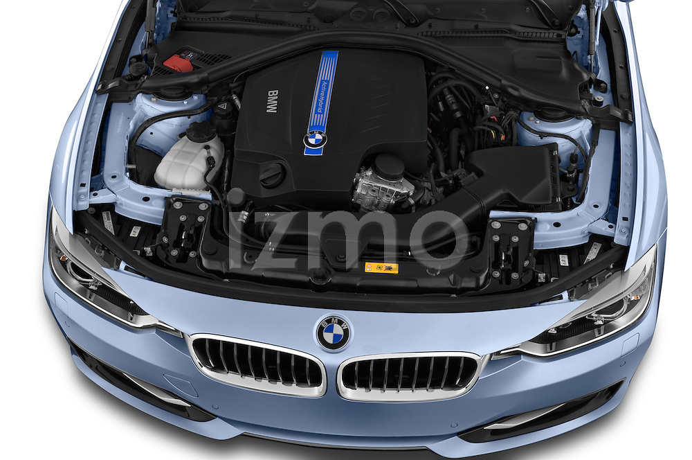 Car Stock 2014 BMW SERIES 3 Sport 4 Door Sedan 2WD Engine high angle detail view