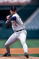 Tim Worrell of the Detroit Tigers plays in a baseball game at Edison International Field during the 1998 season in Anaheim, California. (Larry Goren/Four Seam Images)