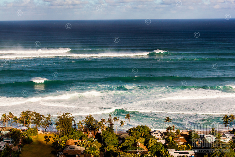 An aerial view of waves breaking during a large winter swell on the North Shore of O'ahu.