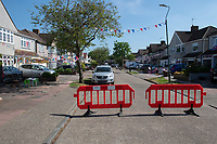 A street is closed off for a party in Welling, Kent, England 8th May 2020. Victory in Europe (VE) 75th Anniversary Celebrations during the UK Lockdown due to the Coronavirus pandemic. Photo by Alan Stanford / PRiME Media Images