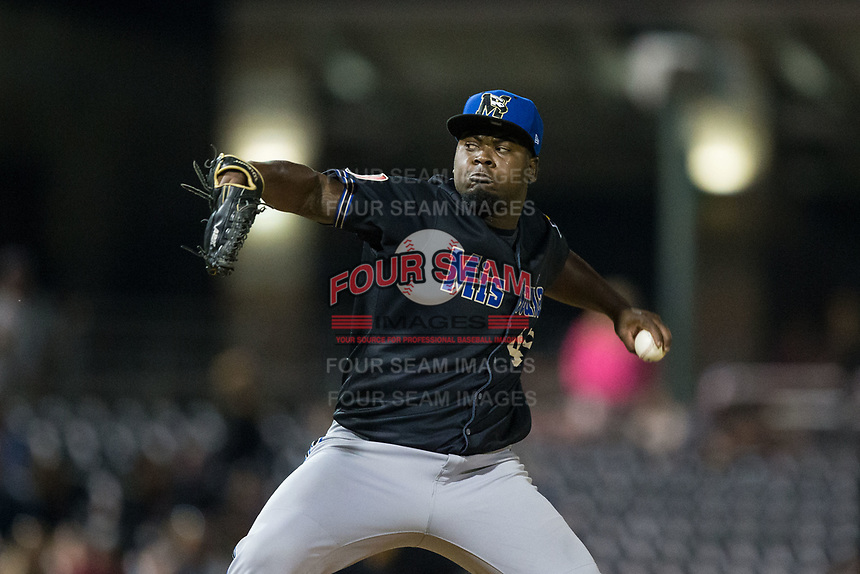 Missoula Osprey starting pitcher Cesilio Pimentel (49) in action against the Billings Mustangs at Dehler Park on August 21, 2017 in Billings, Montana.  The Osprey defeated the Mustangs 10-4.  (Brian Westerholt/Four Seam Images)