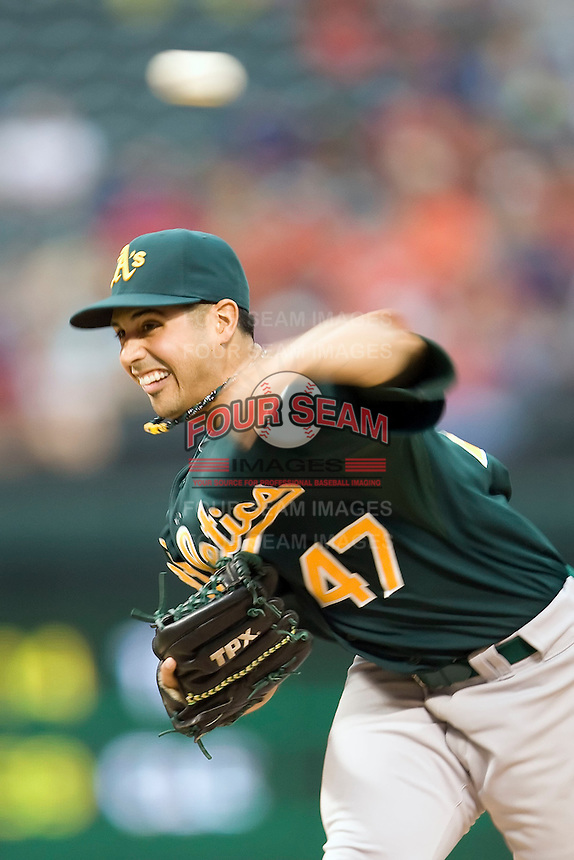 Oakland Athletics starting pitcher Gio Gonzalez (47) delivers a pitch against the Texas Rangers in American League baseball on May 11, 2011 at the Rangers Ballpark in Arlington, Texas. (Photo by Andrew Woolley / Four Seam Images)
