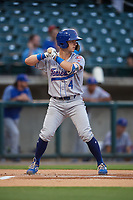Tennessee Smokies shortstop Zack Short (4) at bat during a game against the Birmingham Barons on August 16, 2018 at Regions FIeld in Birmingham, Alabama.  Tennessee defeated Birmingham 11-1.  (Mike Janes/Four Seam Images)