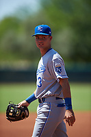 AZL Royals third baseman Bruce Steel (3) during an Arizona League game against the AZL Dodgers Lasorda on July 4, 2019 at Camelback Ranch in Glendale, Arizona. The AZL Royals defeated the AZL Dodgers Lasorda 4-1. (Zachary Lucy/Four Seam Images)