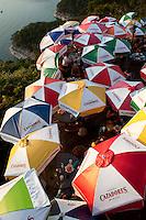 Colorful umbrellas shade Lake Travis Restaurant