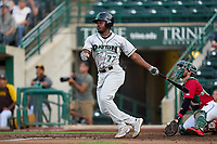 Dayton Dragons Ivan Johnson (22) bats during a game against the Fort Wayne TinCaps on August 25, 2021 at Parkview Field in Fort Wayne, Indiana.  (Mike Janes/Four Seam Images)
