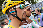 Yellow Jersey Julian Alaphilippe (FRA) Deceuninck-Quick Step waits for the start of Stage 14 of the 2019 Tour de France running 117.5km from Tarbes to Tourmalet Bareges, France. 20th July 2019.<br /> Picture: Colin Flockton | Cyclefile<br /> All photos usage must carry mandatory copyright credit (© Cyclefile | Colin Flockton)