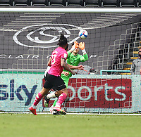 1st May 2021; Liberty Stadium, Swansea, Glamorgan, Wales; English Football League Championship Football, Swansea City versus Derby County; Freddie Woodman of Swansea City saves the header from Colin Kazim-Richards of Derby County during the second half