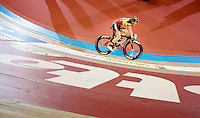 Belgian Champion Jolien D'hoore (BEL/Lotto-Belisol Ladies Team) on track winning the pursuit event<br /> <br /> Gent 6 - day 4