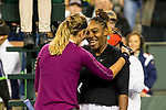 March 8, 2019: Serena Williams (USA) embrace at the net after she defeated Victoria Azarenka (BLR) 7-5, 6-3 at the BNP Paribas Open at the Indian Wells Tennis Garden in Indian Wells, California. ©Mal Taam/TennisClix/CSM