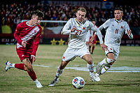 COLLEGE PARK, MD - NOVEMBER 15: Matt Di Rosa #27 of Maryland defends against Joshua Penn #11 of Indiana during a game between Indiana University and University of Maryland at Ludwig Field on November 15, 2019 in College Park, Maryland.