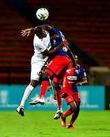 MEDELLIN - COLOMBIA, 01-11-2020: Didier Delgado de Deportivo Independiente Medellin y Elvis Mosquera de Once Caldas disputan el balon, durante partido de la fecha 17 entre Deportivo Independiente Medellin y Once Caldas, por la Liga BetPLay DIMAYOR 2020, jugado en el estadio Atanasio Girardot de la ciudad de Medellin. / Didier Delgado of Deportivo Independiente Medellin and Elvis Mosquera of Once Caldas figth for the ball, during a match of the 17th date between Deportivo Independiente Medellin and Once Caldas, for the BetPLay DIMAYOR League 2020 played at the Atanasio Girardot Stadium in Medellin city. / Photo: VizzorImage / Luis Benavides / Cont.