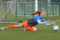 goalkeeper Aukje Van Seijst (1) of KRC Genk  pictured during the warming up of a female soccer game between SV Zulte - Waregem and KRC Genk on the second matchday of the 2021 - 2022 season of Belgian Scooore Womens Super League , saturday 28 of August 2021  in Zulte , Belgium . PHOTO SPORTPIX   DIRK VUYLSTEKE