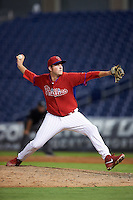 GCL Phillies relief pitcher Kale Fultz (56) during a game against the GCL Blue Jays on August 16, 2016 at Bright House Field in Clearwater, Florida.  GCL Blue Jays defeated GCL Phillies 2-1.  (Mike Janes/Four Seam Images)