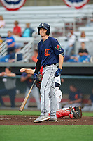 Connecticut Tigers Kingston Liniak (17) at bat during a NY-Penn League game against the Auburn Doubledays on July 12, 2019 at Falcon Park in Auburn, New York.  Auburn defeated Connecticut 7-5.  (Mike Janes/Four Seam Images)