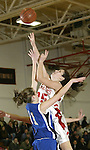 LITCHFIELD, CT, 01/03/08- 010308BZ12- Wamogo's Kellie Finn (25) goes to the hoop against Shepaug's Riley Bingham (11)  during their game at Wamogo High School in Litchfield Thursday night.<br /> Jamison C. Bazinet Republican-American