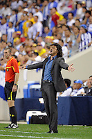 Colombia head coach Leonel Alvarez. The men's national teams of Colombia (COL) defeated Honduras (HON) 2-0 during an international friendly at Red Bull Arena in Harrison, NJ, on September 03, 2011.