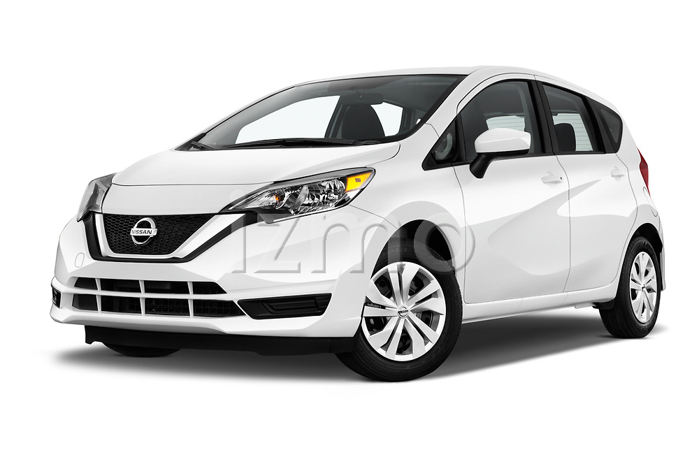 Stock pictures of low aggressive front three quarter view of 2017 Nissan Versa-Note S-Plus 5 Door Hatchback Low Aggressive