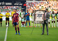 AUSTIN, TX - JUNE 16: Carli Lloyd #10 of the USWNT smiles before a celebration of her 300th cap during a game between Nigeria and USWNT at Q2 Stadium on June 16, 2021 in Austin, Texas.