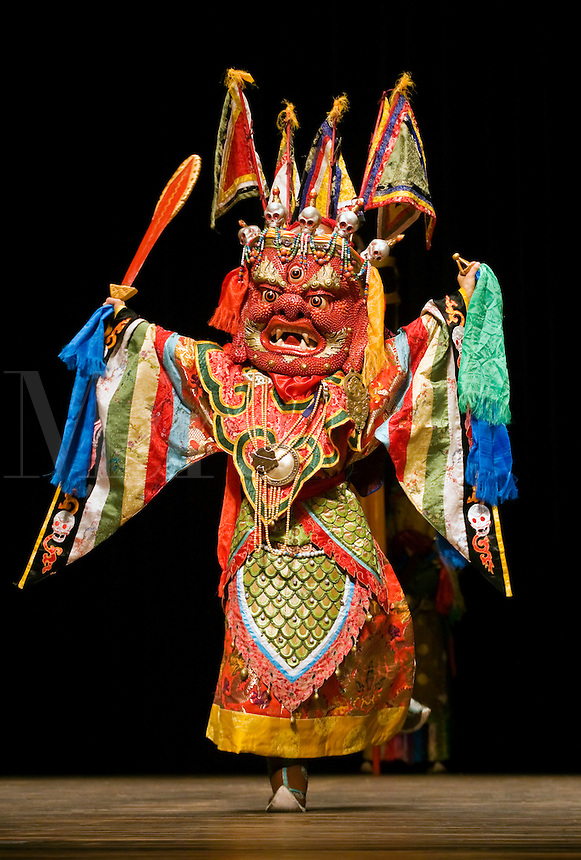 MONGOLIAN BUDDHIST DANCER during MONGOLIAN NIGHT at a DALAI LAMA teaching in October 2007 sponsored by KUMBUM CHAMTSE LING & the TIBETAN CULTURAL CENTER - BLOOMINGTON, INDIANA