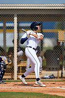 FCL Tigers West designated hitter Trei Cruz (15) bats during a game against the FCL Yankees on July 31, 2021 at Tigertown in Lakeland, Florida.  (Mike Janes/Four Seam Images)