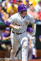 LSU Tigers catcher Kade Scivicque (22) runs to first base against the TCU Horned Frogs in the NCAA College World Series on June 14, 2015 at TD Ameritrade Park in Omaha, Nebraska. TCU defeated LSU 10-3. (Andrew Woolley/Four Seam Images)
