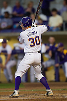 LSU Tigers shortstop Alex Bregman #30 at bat against the Auburn Tigers in the NCAA baseball game on March 22nd, 2013 at Alex Box Stadium in Baton Rouge, Louisiana. LSU defeated Auburn 9-4. (Andrew Woolley/Four Seam Images).