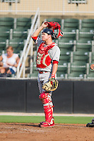Lakewood BlueClaws catcher Andrew Knapp (16) on defense against the Kannapolis Intimidators at CMC-NorthEast Stadium on July 20, 2014 in Kannapolis, North Carolina.  The Intimidators defeated the BlueClaws 7-6. (Brian Westerholt/Four Seam Images)