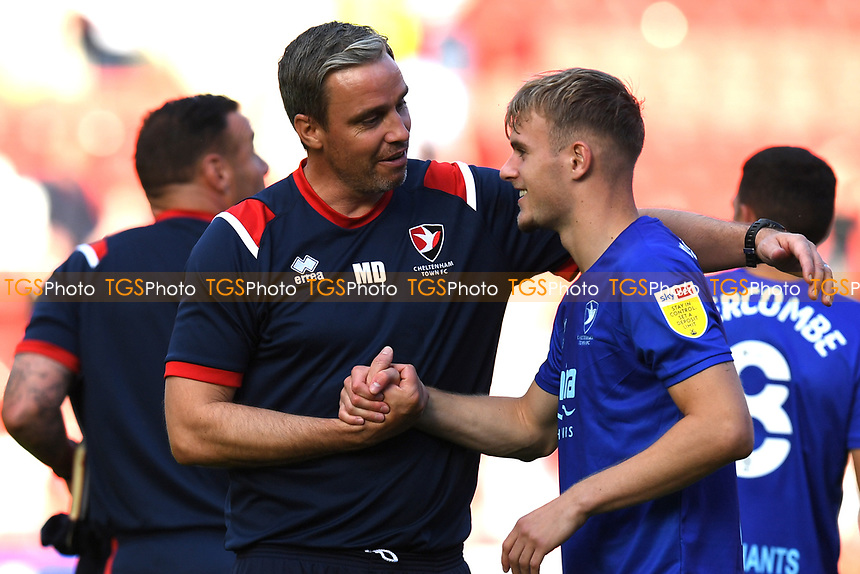 Michael Duff Manager of Cheltenham FC at the final whistle with Callum Wright of Cheltenham FC during Charlton Athletic vs Cheltenham Town, Sky Bet EFL League 1 Football at The Valley on 11th September 2021