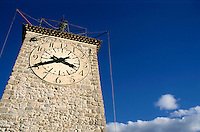 Old clock tower in Roquevaire, Provence, France.