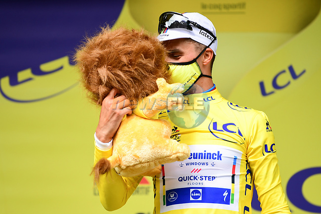 World Champion Julian Alaphilippe (FRA) Deceuninck-Quick Step wins solo Stage 1 and wears the first leaders Yellow Jersey of the 2021 Tour de France, running 197.8km from Brest to Landerneau, France. 26th June 2021.  <br /> Picture: A.S.O./Pauline Ballet   Cyclefile<br /> <br /> All photos usage must carry mandatory copyright credit (© Cyclefile   A.S.O./Pauline Ballet)
