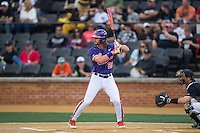 Andrew Cox (6) of the Clemson Tigers at bat against the Wake Forest Demon Deacons at David F. Couch Ballpark on March 12, 2016 in Winston-Salem, North Carolina.  The Tigers defeated the Demon Deacons 6-5.  (Brian Westerholt/Four Seam Images)