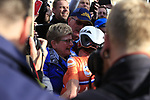 Annemiek Van Vleuten (NED) hugs her parents after winning the Women Elite Road Race of the UCI World Championships 2019 running 149.4km from Bradford to Harrogate, England. 28th September 2019.<br /> Picture: Eoin Clarke | Cyclefile<br /> <br /> All photos usage must carry mandatory copyright credit (© Cyclefile | Eoin Clarke)