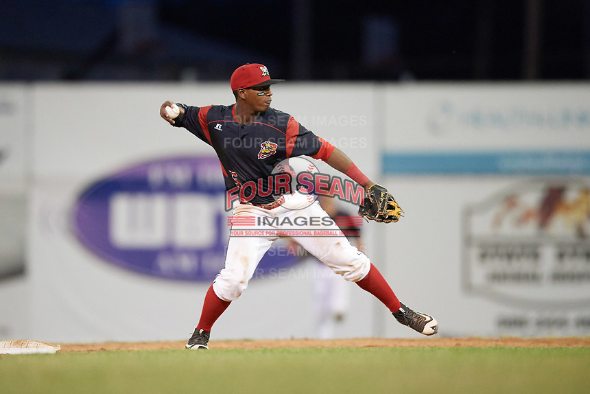 Batavia Muckdogs second baseman Samuel Castro (5) attempt to turn a double play during a game against the Auburn Doubledays on June 19, 2017 at Dwyer Stadium in Batavia, New York.  Batavia defeated Auburn 8-2 in both teams opening game of the season.  (Mike Janes/Four Seam Images)