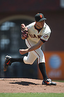 SAN FRANCISCO - JUNE 21:  Barry Zito #75 of the San Francisco Giants pitches against the Texas Rangers during the game at AT&T Park on June 21, 2009 in San Francisco, California. Photo by Brad Mangin