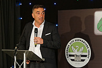 Pictured: Manager Carlos Carvalhal gives a speech. Wednesday 02 May 2018<br /> Re: Swansea City AFC Official Player Of The Season Awards Dinner 2018 at the Liberty Stadium, Wales, UK.